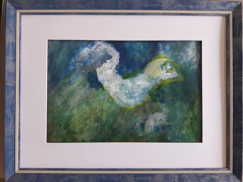 14. Oiseau songeur (D : 24cm x 32cm    Prix=80 €))