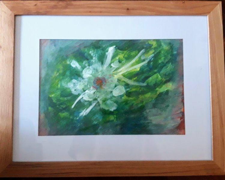 15. Fleur à l'aube (D : 24cm x 32cm  )  VENDU
