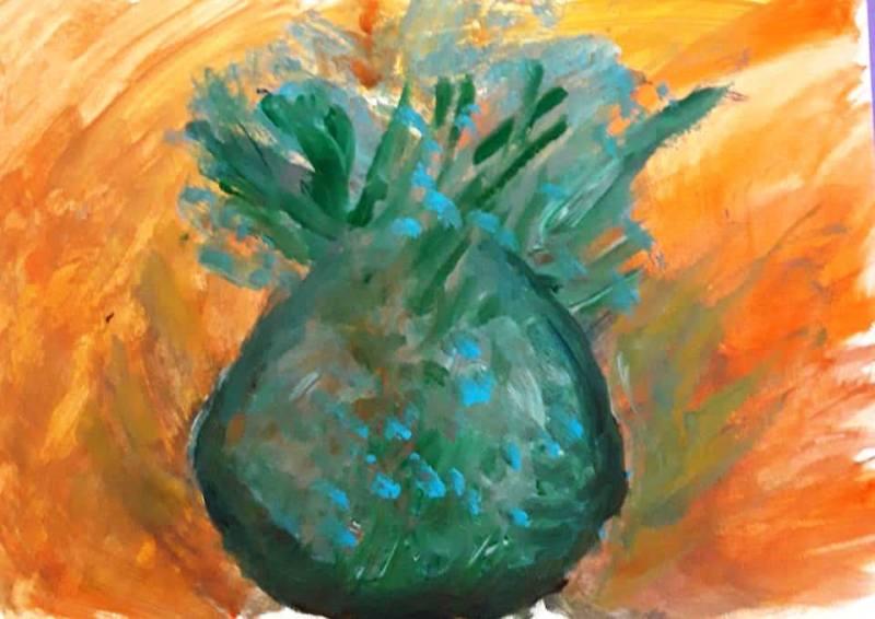 53. Ananas bleu (D : 21cm x 30cm    Prix=70 €)