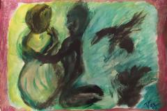 24.Couple vert et noir  (D : 30cm x 42cm    Prix=100 €)